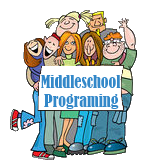 Middle School Programming cartoon of group holding sign