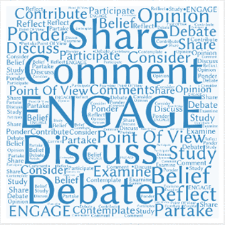 Image of layers of words on it to include share, comment, engage, discuss and debate