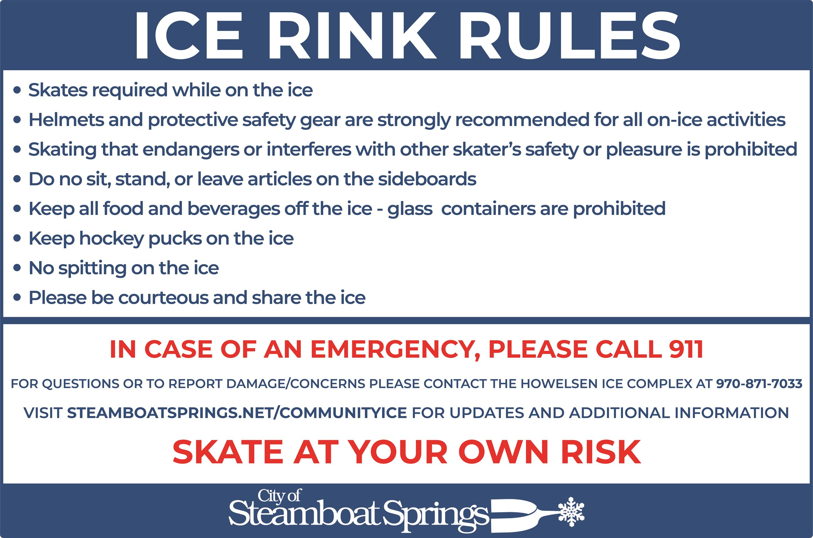 Outdoor Ice Rink Signage - Rules Sign 4X6