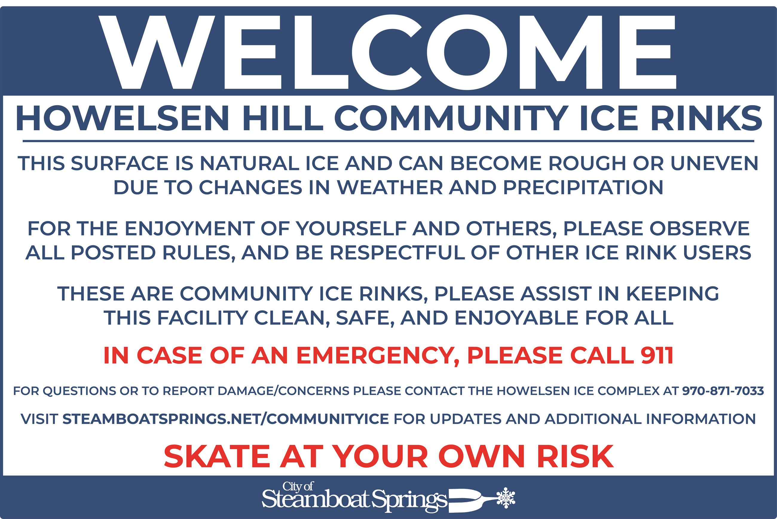 Outdoor Ice Rink Signage - Welcome Sign 4X6