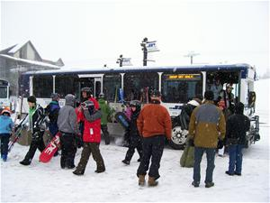 Passengers at the Gondola Transit Center